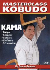 The Kama is a sickle that Okinawan farmers used to harvest their rice crops. Unlike other tools such as the bo and sai—which are normally made of wood or bamboo—the kama has a sharp cutting edge. In this video, Fumio Demura sensei teaches the fundamentals of proper kama use, including proper grips, strikes, stances, counters and defenses. (Approx. 58 min.)