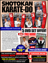 This series includes: warm-ups, strikes and kicks, stances and footwork, black-belt kata, defenses, distance, timing, power and speed training, self-defense techniques, and much more. (Approx. 60 min, each DVD) Volume 1: Stances and correct footwork Exercises to improve your balance and coordination Speed and power drills Counter-attacks Five Heian and Tekki Shodan Kata. Volume 2: Defensive maneuvers Blocking, punching & kicking Sparring & Jyu Kumite training Kata: Jitte, Bassai Dai, Jion, Kanku Dai, Empi and Hangetsu Volume 3: Advanced Jyu Kumite Developing Kime Distance & Timing drills Kata: Tekki Nidan/Sandan, Kanku Sho, Bassai Sho, Ninjushiho, Jiin, Gankaku, Gojushiho Dai & Sho Volume 4: Self Defense Kata for Advanced Black Belts Sochin, Chintei & Unsu Power Development for kicking Volume 5: Free-sparring combinations Defense vs. multiple attackers Advanced Sanchin Kata training    This series includes: warm-ups, strikes and kicks, stances and footwork, black-belt kata, defenses, distance, timing, power and speed training, self-defense techniques, and much more. (Approx. 60 min, each DVD)   Volume 1  Stances and correct footwork Exercises to improve your balance and coordination Speed and power drills Counter-attacks Five Heian and Tekki Shodan Kata. Volume 2  Defensive maneuvers Blocking, punching & kicking Sparring & Jyu Kumite training Kata: Jitte, Bassai Dai, Jion, Kanku Dai, Empi and Hangetsu Volume 3  Advanced Jyu Kumite Developing Kime Distance & Timing drills Kata: Tekki Nidan/Sandan, Kanku Sho, Bassai Sho, Ninjushiho, Jiin, Gankaku, Gojushiho Dai & Sho Volume 4  Self Defense Kata for Advanced Black Belts Sochin, Chintei & Unsu Power Development for kicking Volume 5  Free-sparring combinations Defense vs. multiple attackers Advanced Sanchin Kata training