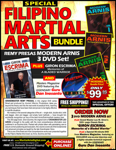 """MODERN ARNIS & """"GIRON ESCRIMA"""" DVD/BOOK BUNDLE by Grandmasters Remy Presas & Leo Giron  Grandmaster Remy Presas takes you beyond the theory and into the real world of practical Arnis, teaching you techniques that have been tried and proved to be highly effective in real-life situations. He was one of the most relevant Arnis-Eskrima-Kali masters around the world and one of the premier stick fighters. His studies led him to combine - in one system - the best combat methods found in the different local fighting styles from the Philippines islands and named it """"Modern Arnis"""". Grandmaster Presas worked with many Law Enforcement agencies around the world teaching them armed and unarmed self-defense techniques. His mastery in the several categories of the art: single stick, double stick, knife and dagger, stick and dagger and empty hand methods – brought him worldwide recognition as one of the best Arnis/Eskrima/Kali masters ever lived. This original """"Ancient Warrior Production"""" series represents Grandmaster Presas´ classic Filipino Martial Arts legacy.  Volume 1 includes stick attacks, blocking methods, evasive techniques, takedowns and unarmed self-defense techniques. (Approx. 50 min.)   Volume 2 includes evasive footwork, fundamentals, blocking and checking attacks, empty-hand fighting, throwing and trapping. (Approx. 60 min.)  Volume 3 includes disarming attackers, counterstrikes, proper knife techniques and using weapons to disarm an assailant. (Approx. 55 min.)"""