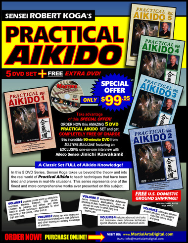 """In this 5 DVD Series, Sensei Robert Koga takes us beyond the theory and into the real world of """"Practical Aikido"""" to teach techniques that have been tried and proven in real-life situations. This series represents one of the finest and more comprehensive works ever presented on this subject.  Volume 1: In this volumen, Sensei Koga presents basics warm-up stretching exercises, stances, footwork, falls, blocks, counters to punches and strikes, and other practical aikido techniques applicable to what happens on the streets, rather than in dojo exercises. (Approx. 55 min.) Volume 2: Sensei Koga shows key wrist leverages, nerve-pressure takedowns, kick defenses, and other techniques utilizing knowledge of anatomy. (Approx. 55 min.) Volume 3: This volume demonstrates defensive nerve pressure applications, such as breaking chokes, headlocks, and bear hugs, as well as more on stretching and other warm-ups to improve techniques. (Approx. 55 min.) Volume 4: This volumeincludes advanced joint locks and takedowns, more defensive techniques against attackers, and other advanced aikido. (Approx. 55 min.) Volume 5:In the final volumen of the series, Sensei Koga addresses defense against attackers with weapons including knives, clubs, and guns. (Approx. 55 min.)"""