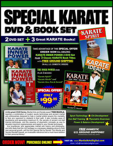 "When it comes to achieving a goal, strength of the mind – not the size of the person – is what counts. Everyone possesses this energy: it just needs to be tapped, Known as ""Chi"" or ""Ki"", this inner energy helps martial artists to achieve apparently superhuman feats. In this 2 DVD Series, Martial Arts and Karate expert, Tom Muzila, teaches a combination of modern sports technology and ancient martial arts philosophies designed to help a martial artists acquire the mentality to face any opponent or obstacle in their path. It also includes ways of developing and generating maximum chi instantly, the secrets of ancient iron-ball training techniques, and the essence of plyometric concepts as way to develop maximum explosiveness and speed in your Karate techniques.  Includes:  Sport Technology  Chi Development Iron Ball Training Plyometric Exercises Power & Balance Development The Set includes 3 classic book titles: ""Karate Spirit"", ""Karate: Zen, Pen and Sword"" and ""Karate Ideals"" by Sensei Randall Hassell."