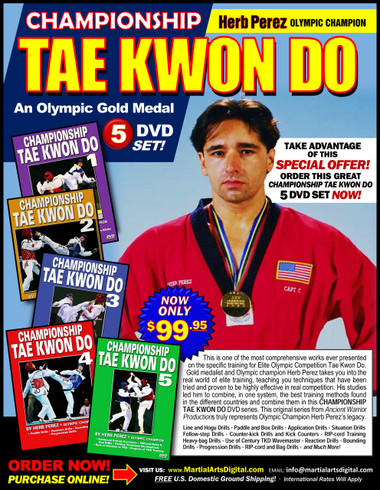 """This is one of the most comprehensive works ever presented on the specific training for Elite Olympic Competition Tae Kwon Do. Gold medalist and Olympic champion, Herb Perez, takes you into the real world of elite training, teaching you techniques that have been tried and proved to be highly effective in real competition.  His studies led him to combine - in one system - the best training methods found in the different countries and combine them in this """"Championship Tae kwon Do"""" Series. This original """"Ancient Warrior Production"""" series represents Olympic Champion, Herb Perez´s legacy.  Line drills and Hogu drills Paddle and box drills  Application drills and situation drills Follow-step drills Counter-kick drills and kick counters RIPcord training drills Heavy-bag drills Use of Century TKD Wavemaster  Reaction drills Bounding drills Progression drills"""