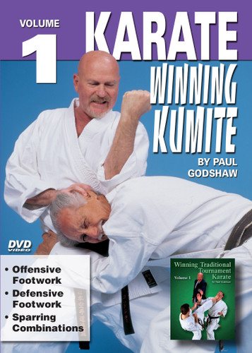 "KARATE - WINNING KUMITE   By Paul Godshaw Shihan Paul Godshaw, Chief Instructor and Sensei of the Mission Viejo Branch of the ""Japan Karate-Do Federation"", has one of the most impressive backgrounds of Karate-do in the United States.Mr. Paul Godshaw started training in 1965 with Sensei Dan Ivan and Sensei Fumio Demura. Under their tutelage, he had earned a Yon-Dan (4th Dan) Black Belt. And, by strict examination of the Masters of the ""International Martial Arts Federation"" (IMAF), Mr. Godshaw has also been awarded a Hachi-dan (8th Dan Black Belt in Karate-Do).In this Series, he takes us beyond the theory and into the real world of ""karate kumite"" to teach techniques that have been tried and proven in sport situations. This series represents one of the finest and more comprehensive works ever presented on this subject.    VOLUME 1  Offensive Footwork Defensive Footwork Sparring Combinations"