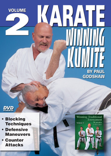 """WINNING KUMITE Volume 2 Shihan Paul Godshaw, Chief Instructor and Sensei of the Mission Viejo Branch of the """"Japan Karate-Do Federation"""", has one of the most impressive backgrounds of Karate-do in the United States. Mr. Paul Godshaw started training in 1965 with Sensei Dan Ivan and Sensei Fumio Demura. Under their tutelage, he had earned a Yon-Dan (4th Dan) Black Belt. And, by strict examination of the Masters of the """"International Martial Arts Federation"""" (IMAF), Mr. Godshaw has also been awarded a Hachi-dan (8th Dan Black Belt in Karate-Do).  VOLUME 2  •Blocking Techniques  •Defensive Maneuvers •Counter Attacks"""
