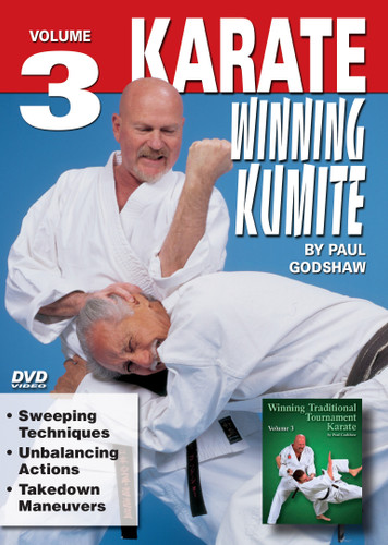 """WINNING KUMITE   By Paul Godshaw Mr. Paul Godshaw started training in 1965 with Sensei Dan Ivan and Sensei Fumio Demura. Under their tutelage, he had earned a Yon-Dan (4th Dan) Black Belt. And, by strict examination of the Masters of the """"International Martial Arts Federation"""" (IMAF), Mr. Godshaw has also been awarded a Hachi-dan (8th Dan Black Belt in Karate-Do). In this Series, he takes us beyond the theory and into the real world of """"karate kumite"""" to teach techniques that have been tried and proven in sport situations. This series represents one of the finest and more comprehensive works ever presented on this subject.   VOLUME 3  Sweeping Techniques   Unbalancing Actions Takedown Maneuvers"""