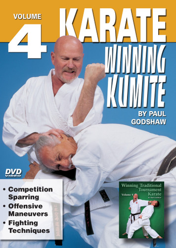 """WINNING KUMITE by Paul Godshaw  Shihan Paul Godshaw, Chief Instructor and Sensei of the Mission Viejo Branch of the """"Japan Karate-Do Federation"""", has one of the most impressive backgrounds of Karate-do in the United States. Mr. Paul Godshaw started training in 1965 with Sensei Dan Ivan and Sensei Fumio Demura. Under their tutelage, he had earned a Yon-Dan (4th Dan) Black Belt. And, by strict examination of the Masters of the """"International Martial Arts Federation"""" (IMAF), Mr. Godshaw has also been awarded a Hachi-dan (8th Dan Black Belt in Karate-Do).  VOLUME 4   •Competition Sparring  •Offensive Maneuvers •Fighting Techniques"""