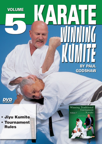 """WINNING KUMITE   By Paul Godshaw In this Series, he takes us beyond the theory and into the real world of """"karate kumite"""" to teach techniques that have been tried and proven in sport situations. This series represents one of the finest and more comprehensive works ever presented on this subject.  Shihan Paul Godshaw, Chief Instructor and Sensei of the Mission Viejo Branch of the """"Japan Karate-Do Federation"""", has one of the most impressive backgrounds of Karate-do in the United States. Mr. Paul Godshaw started training in 1965 with Sensei Dan Ivan and Sensei Fumio Demura. Under their tutelage, he had earned a Yon-Dan (4th Dan) Black Belt. And, by strict examination of the Masters of the """"International Martial Arts Federation"""" (IMAF), Mr. Godshaw has also been awarded a Hachi-dan (8th Dan Black Belt in Karate-Do).  VOLUME 5  Jiyu Kumite  Tournament Rules"""