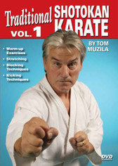 SHOTOKAN KARATE Volume 1 by Tom Muzila One of the world's leading contemporary disciples of Gichin Funakoshi's Okinawan shotokan karate is Sensei Tsutomu Ohshima sensei, whose headquarters are located in Southern California. In this five-part series, Tom Muzila—a direct pupil of Mr. Ohshima—presents the techniques, forms and strategies that make shotokan karate such an effective combat art. Already well-known for his incredible physical/mental stamina and endurance records, He is currently an instructor/adviser to law-enforcement officers and the military in tactics, weapons and defense, making him the ideal instructor for this superior instructional video series.  Volume 1:  covers warm-up exercises, stretching, blocking and kicking. (Approx. 54 min.)