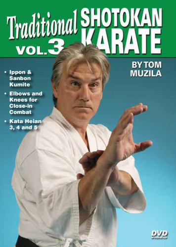 SHOTOKAN KARATE Volume 3 by Tom Muzila One of the world's leading contemporary disciples of Gichin Funakoshi's Okinawan shotokan karate is Sensei Tsutomu Ohshima sensei, whose headquarters are located in Southern California. In this five-part series, Tom Muzila—a direct pupil of Mr. Ohshima—presents the techniques, forms and strategies that make shotokan karate such an effective combat art. Already well-known for his incredible physical/mental stamina and endurance records, He is currently an instructor/adviser to law-enforcement officers and the military in tactics, weapons and defense, making him the ideal instructor for this superior instructional video series.  Volume 3 covers one-time engagement, one-time engagement with kicks, elbows and knees for close-in combat, and kata heian 3, 4 and 5. (Approx. 54 min.)