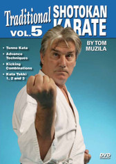 SHOTOKAN KARATE Volume 5  by Tom Muzila One of the world's leading contemporary disciples of Gichin Funakoshi's Okinawan shotokan karate is Sensei Tsutomu Ohshima sensei, whose headquarters are located in Southern California. In this five-part series, Tom Muzila—a direct pupil of Mr. Ohshima—presents the techniques, forms and strategies that make shotokan karate such an effective combat art. Already well-known for his incredible physical/mental stamina and endurance records, He is currently an instructor/adviser to law-enforcement officers and the military in tactics, weapons and defense, making him the ideal instructor for this superior instructional video series.  Volume 5 covers tenno kata, advance techniques, kicking combinations and kata tekki 1, 2 and 3. (Approx. 49 min.)