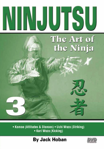"""NINJUTSU Volume 3 by Jack Hoban Shidoshi Jack Hoban—a former Marine Corps captain and one of the acknowledged """"founding fathers"""" of Ninjutsu in America—reveals the core physical techniques of this mysterious and often misunderstood art. Personally trained by Grandmaster Masaaki Hatsumi in Japan, Shidoshi (senior instructor) Hoban is an ideal instructor to teach Ninjutsu to new and experienced practitioners.  Volume 3 covers kamae (body attitudes, stances), uchi waza (striking) and keri waza (kicking). (Approx. 60 min.)"""