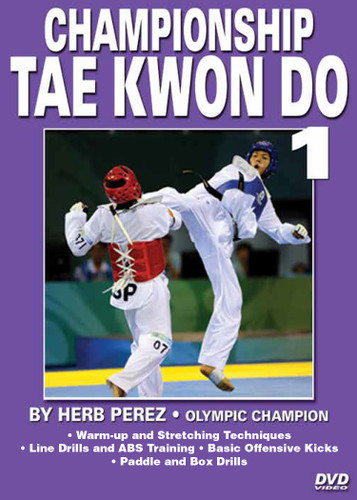 "CHAMPIONSHIP TAE KWON DO   Advanced Sparring  by Herb Perez This is one of the most comprehensive works ever presented on the specific training for Elite Olympic Competition Tae Kwon Do. Gold medalist and Olympic champion, Herb Perez, takes you into the real world of elite training, teaching you techniques that have been tried and proved to be highly effective in real competition.  His studies led him to combine - in one system - the best training methods found in the different countries and combine them in this ""Championship Tae kwon Do"" Series.   Volume 1: Warm-up and stretching techniques, line drills and an abdominal workout. Also covers basic kicks (round kicks, fast kicks, side kicks, back kicks, the spinning back-hook kick, the ax kick and motion drills), multiple kicks, and paddle and box drills. (Approx. 58 min.)"