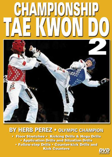 """CHAMPIONSHIP TAE KWON DO  Volume 2 Advanced Sparring  by Herb Perez  This is one of the most comprehensive works ever presented on the specific training for Elite Olympic Competition Tae Kwon Do. Gold medalist and Olympic champion, Herb Perez, takes you into the real world of elite training, teaching you techniques that have been tried and proved to be highly effective in real competition.  His studies led him to combine - in one system - the best training methods found in the different countries and combine them in this """"Championship Tae kwon Do"""" Series.   Volume 2: More warm-up exercises and floor stretches, kicking drills, hogu drills, application drills and situation drills. Also covers follow-step drills, paddle drills, counter-kick drills and kick counters. (Approx. 60 min.)"""