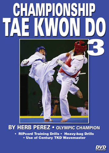"""CHAMPIONSHIP TAE KWON DO  Volume 3 Advanced Sparring  by Herb Perez  This is one of the most comprehensive works ever presented on the specific training for Elite Olympic Competition Tae Kwon Do. Gold medalist and Olympic champion, Herb Perez, takes you into the real world of elite training, teaching you techniques that have been tried and proved to be highly effective in real competition.  His studies led him to combine - in one system - the best training methods found in the different countries and combine them in this """"Championship Tae kwon Do"""" Series.   Volume 3: Covers warm-up, stretches and RIPcord drills (basic round-kick drills, power drills, kicking and """"apbal"""" drills using a RIPcord). Heavy-bag drills using the Century TKD Wavemaster also included. (Approx. 51 min.)"""
