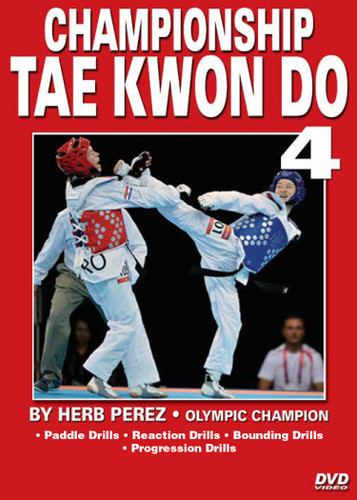 "CHAMPIONSHIP TAE KWON DO  Volume 4 Advanced Sparring  by Herb Perez  This is one of the most comprehensive works ever presented on the specific training for Elite Olympic Competition Tae Kwon Do. Gold medalist and Olympic champion, Herb Perez, takes you into the real world of elite training, teaching you techniques that have been tried and proved to be highly effective in real competition.  His studies led him to combine - in one system - the best training methods found in the different countries and combine them in this ""Championship Tae kwon Do"" Series.    Volume 4: Warm-up exercises, paddle drills, reaction drills, bounding drills, progression drills and perfecting kicks. (Approx. 59 min.)"