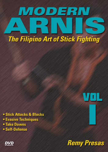 """MODERN ARNIS Volume 1  The Filipino Art of Stick Fighting  by Remy Presas  This is one of the finest and most comprehensive works ever presented on the Filipino art of Stick Fighting known as """"Modern Arnis"""". Grandmaster Remy Presas takes you beyond the theory and into the real world of practical Arnis, teaching you techniques that have been tried and proved to be highly effective in real-life situations. He was one of the most relevant Arnis-Eskrima-Kali masters around the world and one of the premier stick fighters. His studies led him to combine - in one system - the best combat methods found in the different local fighting styles from the Philippines islands and named it """"Modern Arnis"""". This original """"Ancient Warrior Production"""" series represents Grandmaster Presas´ classic Filipino Martial Arts legacy.  Volume 1 includes stick attacks, blocking methods, evasive techniques, takedowns and unarmed self-defense techniques. (Approx. 50 min.)"""