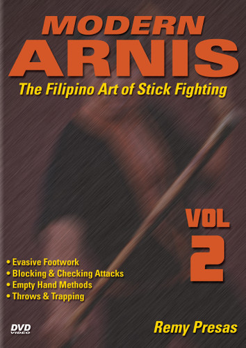 """MODERN ARNIS Volume 2  The Filipino Art of Stick Fighting  by Remy Presas  This is one of the finest and most comprehensive works ever presented on the Filipino art of Stick Fighting known as """"Modern Arnis"""". Grandmaster Remy Presas takes you beyond the theory and into the real world of practical Arnis, teaching you techniques that have been tried and proved to be highly effective in real-life situations. He was one of the most relevant Arnis-Eskrima-Kali masters around the world and one of the premier stick fighters. His studies led him to combine - in one system - the best combat methods found in the different local fighting styles from the Philippines islands and named it """"Modern Arnis"""". This original """"Ancient Warrior Production"""" series represents Grandmaster Presas´ classic Filipino Martial Arts legacy.  Volume 2 includes evasive footwork, fundamentals, blocking and checking attacks, empty-hand fighting, throwing and trapping. (Approx. 60 min.)"""