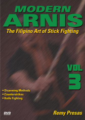 "MODERN ARNIS Volume 3  The Filipino Art of Stick Fighting  by Remy Presas  This is one of the finest and most comprehensive works ever presented on the Filipino art of Stick Fighting known as ""Modern Arnis"". Grandmaster Remy Presas takes you beyond the theory and into the real world of practical Arnis, teaching you techniques that have been tried and proved to be highly effective in real-life situations. He was one of the most relevant Arnis-Eskrima-Kali masters around the world and one of the premier stick fighters. His studies led him to combine - in one system - the best combat methods found in the different local fighting styles from the Philippines islands and named it ""Modern Arnis"". This original ""Ancient Warrior Production"" series represents Grandmaster Presas´ classic Filipino Martial Arts legacy.  Volume 3 includes disarming attackers, counterstrikes, proper knife techniques and using weapons to disarm an assailant. (Approx. 55 min.)"