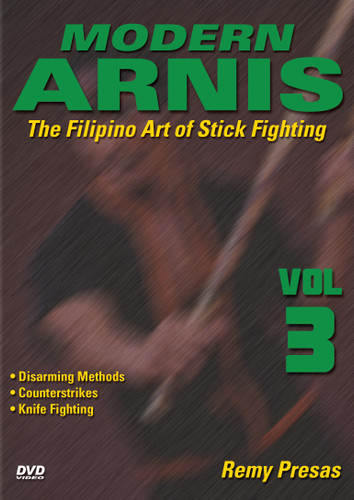 """MODERN ARNIS Volume 3  The Filipino Art of Stick Fighting  by Remy Presas  This is one of the finest and most comprehensive works ever presented on the Filipino art of Stick Fighting known as """"Modern Arnis"""". Grandmaster Remy Presas takes you beyond the theory and into the real world of practical Arnis, teaching you techniques that have been tried and proved to be highly effective in real-life situations. He was one of the most relevant Arnis-Eskrima-Kali masters around the world and one of the premier stick fighters. His studies led him to combine - in one system - the best combat methods found in the different local fighting styles from the Philippines islands and named it """"Modern Arnis"""". This original """"Ancient Warrior Production"""" series represents Grandmaster Presas´ classic Filipino Martial Arts legacy.  Volume 3 includes disarming attackers, counterstrikes, proper knife techniques and using weapons to disarm an assailant. (Approx. 55 min.)"""
