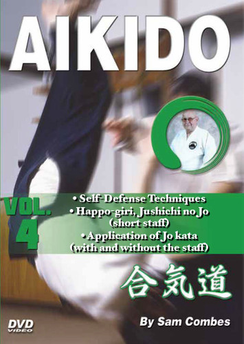 AIKIDO Volume 4 By Sam Combes In this five-volume traditional martial arts DVD series, Sam Combes sensei—a retired police officer who holds a seventh-dan black belt—teaches aikido kata, self-defense and weapons techniques, which form the cornerstone of this highly effective ancient art.   Volume 4 includes more self-defense techniques, including chokes and defense against face attacks. Happo giri, jushichi no jo (short staff) kata and application of jo kata (with and without the staff).