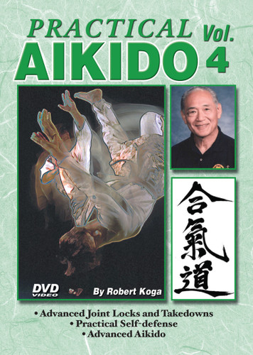 PRACTICAL AIKIDO Volume 4  by Robert Koga This is one of the finest and most comprehensive works ever presented on Aikido. Sensei Robert Koga (former premier law-enforcement instructor for the Los Angeles Police Department and consultant for countless other agencies in the United States and around the world) takes you beyond the theory and into the real world of practical Aikido to teach techniques that have been tried and proved in real-life situations.  Volume 4 includes advanced joint locks and takedowns, more practical techniques for self-defense, as well as unique and effective Aikido for the more advanced student. (Approx. 55 min.)