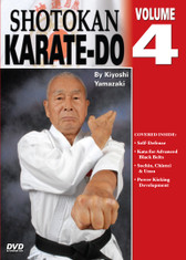 Shotokan Karate Volume 4  by Kiyoshi Yamazaki Chief International Instructor, Japan Karate Do Ryobu-Kai, Kiyoshi Yamazaki sensei —an eight-degree black belt from Ryobukai (Japan Karate Federation) and a ninth-degree Shindo Jinen Ryu—teaches you kata and sparring techniques from beginning through black-belt ranks. His own teacher, Yasuhiro Konishi, learned this style directly from Okinawan masters Funakoshi (shotokan) Mabuni (shito-ryu), Miyagi (goju-ryu) and Choki Motobu. This series includes: warm-ups, strikes and kicks, stances and footwork, black-belt kata, defenses, distance, timing, power and speed training, self-defense techniques, and much more. (Approx. 60 min, each DVD)  Self Defense Kata for Advanced Black Belts Sochin, Chintei & Unsu Power Development for kicking
