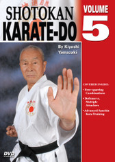 Shotokan Karate Volume 5  by Kiyoshi Yamazaki Chief International Instructor, Japan Karate Do Ryobu-Kai, Kiyoshi Yamazaki sensei —an eight-degree black belt from Ryobukai (Japan Karate Federation) and a ninth-degree Shindo Jinen Ryu—teaches you kata and sparring techniques from beginning through black-belt ranks. His own teacher, Yasuhiro Konishi, learned this style directly from Okinawan masters Funakoshi (shotokan) Mabuni (shito-ryu), Miyagi (goju-ryu) and Choki Motobu. This series includes: warm-ups, strikes and kicks, stances and footwork, black-belt kata, defenses, distance, timing, power and speed training, self-defense techniques, and much more. (Approx. 60 min, each DVD)  Free-sparring combinations Defense vs. multiple attackers Advanced Sanchin Kata training