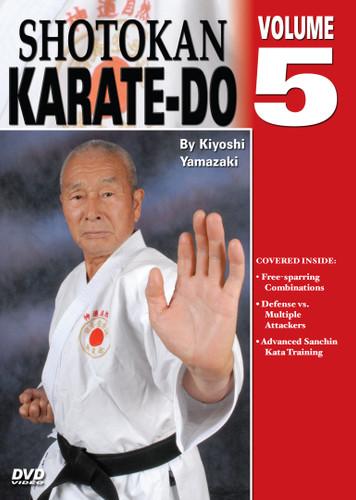 Shotokan Karate Volume 5  by Kiyoshi Yamazaki Chief International Instructor, Japan Karate Do Ryobu-Kai, Kiyoshi Yamazaki sensei —an eight-degree black belt from Ryobukai (Japan Karate Federation) and a ninth-degree Shindo Jinen Ryu—teaches you kata and sparring techniques from beginning through black-belt ranks. His own teacher, Yasuhiro Konishi, learned this style directly from Okinawan masters Funakoshi (shotokan) Mabuni (shito-ryu), Miyagi (goju-ryu) and Choki Motobu. This series includes: warm-ups, strikes and kicks, stances and footwork, black-belt kata, defenses, distance, timing, power and speed training, self-defense techniques, and much more. (Approx. 60 min, each DVD)  Free-sparring combinations Defense vs. multiple attackers Advanced Sanchin Kata training