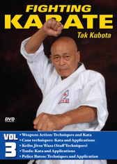 FIGHTING KARATE Volume 3 by Tak Kubota Soke Takayuki Kubota is a member of the Black Belt Hall of Fame and the founder and grandmaster of the International Karate Association Inc. Kubota's hybrid of judo, karate and jujutsu techniques is a very powerful and practical self-defense system called gosoku-ryu. Learn its techniques in this five-part video collection from the man who has trained some of the finest law-enforcement and military personnel in the world.  Volume 3: Weapons Action—Techniques and Kata — Cane techniques (attack and defense drills), kata and applications, keibo jitsu waza (staff techniques), attack-and-defense drills with the staff, tonfa (side-handle baton) attack-and-defense drills, kata and application, and police baton techniques and application. (Approx. 59 min.)