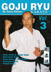 "GOJU RYU KARATE Volume 3 by Teruo Chinen In this series, Sensei Teruo Chinen - a direct disciple of Goju Ryu karate founder Chojun Miyagi and also student of legendary Eiichi Miyazato Sensei at the ""Jundokan"" dojo, teaches the 12 Goju Ryu kata as well as special exercises and techniques seldom seen outside of Okinawa. In this classic and original ""Ancient Warrior Productions"" series comprised of 5 DVD, the legendary Karate master, Sensei Teruo Chinen unveils the secrets, principles and techniques of the Okinawa Goju Ryu style of Karate-do.  Volume 3 features Hojo Undo and Junbi Undo, Shisochin kata, Kigu Undo-ishi sashi (stone hand weights), sanseiru kata and seipai kata. (Approx. 58 min.)"