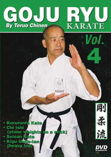 "GOJU RYU KARATE Volume 4 by Teruo Chinen In this series, Sensei Teruo Chinen - a direct disciple of Goju Ryu karate founder Chojun Miyagi and also student of legendary Eiichi Miyazato Sensei at the ""Jundokan"" dojo, teaches the 12 Goju Ryu kata as well as special exercises and techniques seldom seen outside of Okinawa. In this classic and original ""Ancient Warrior Productions"" series comprised of 5 DVD, the legendary Karate master, Sensei Teruo Chinen unveils the secrets, principles and techniques of the Okinawa Goju Ryu style of Karate-do.  Volume 4 features Hojo Undo, Kururunfa kata, Kigo Undo-chi ishi (stone weights on a stick), Seisan kata and Kigu Undo-tan (heavy log). (Approx. 55 min.)"