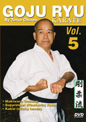 "GOJU RYU KARATE Volume 5 by Teruo Chinen In this series, Sensei Teruo Chinen - a direct disciple of Goju Ryu karate founder Chojun Miyagi and also student of legendary Eiichi Miyazato Sensei at the ""Jundokan"" dojo, teaches the 12 Goju Ryu kata as well as special exercises and techniques seldom seen outside of Okinawa. In this classic and original ""Ancient Warrior Productions"" series comprised of 5 DVD, the legendary Karate master, Sensei Teruo Chinen unveils the secrets, principles and techniques of the Okinawa Goju Ryu style of Karate-do.  Volume 5 features Kigu Undo (Makiwara), Suparimpei (Pinchurin) kata and Kakie (sticky hands). (Approx. 58 min.)"