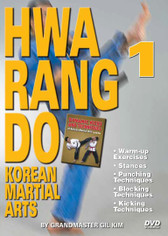 HWARANG DO - KOREAN MARTIAL ARTS Volume 1 By Grandmaster Gil Kim  In this 2-DVD set, Grandmaster Kim demonstrates warm up exercises, good fighting distance, basic fighting stances and footwork, basic punches and basic kicks. Then he goes into combinations of punches and kicks, advanced kicking techniques, falling and rolling techniques, various self- defense techniques in different situations and many other valuable and effective fighting principles and concepts of the art of Hwa Rang Do and Korean Martial Arts.    VOLUME 1  Warm-up Exercises Stances Punching Techniques Blocking Techniques Kicking Techniques
