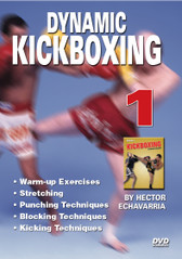 "KICK BOXING Volume 1 By Hector Echavarria  Hector Echavarria is a former champion of the ""U.S. Karate Association"" and the ""American Karate Association"" and a ""Vale Tudo Kickboxing Champion"". In the volume 1 of this three DVD series, Hector Echavarria demonstrates warm up exercises, good fighting distance, basic fighting stance and footwork. He demonstrates basic punches: the jab, the cross, uppercut, hook, basic kicks: the roundhouse kick, side kick, and a front push kick to stop an opponent and control fighting distance. Hector demonstrates how a Muay Thai kick goes thru the opponent where as a karate kick makes contact; but does not have the same penetration through the opponent.  Warm-up exercises Stretching Punching Techniques Blocking Techniques Kicking Techniques"