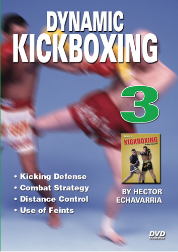 "KICK BOXING Volume 3 By Hector Echavarria   Hector Echavarria is a former champion of the ""U.S. Karate Association"" and the ""American Karate Association"" and a ""Vale Tudo Kickboxing Champion"". In the advanced volumes (2 & 3), Master Echavarria demonstrates combinations of punches and kicks, advanced kick techniques, various defense techniques against kicks from an opponent: trapping opponent's kick, sweeping the opponent's kick, using distance or proximity to opponent as defense against kicks. He also demonstrates how to create openings in the opponent's defense by using fakes, feints, and opponent's expectation of your next move.  Kicking Defense  Combat Strategy  Distance Control Use of Feints"