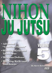 "NIHON JU JUTSU Volume 5 By Norm Belsterling  Volume 5 includes highest-level jujutsu techniques--advanced ""sacrifice throws"", blocking kicks and takedowns, counters to surprise attacks, weapons defense--as well as a review of the lower-level techniques."