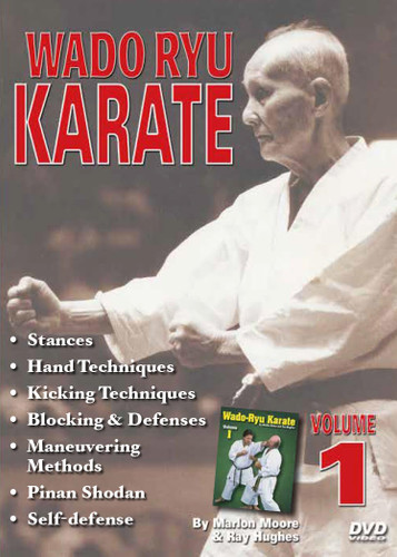 WADO RYU KARATE SPECIAL 5 DVD SET By Marlon Moore & Ray Hughes Volume 1 features warm-ups, a strong foundation, stances, hand techniques, kicking techniques, blocking, fluid basics, learning to maneuver, kata (pre-kata, pinan shodan), and self-defense techniques.  Volume 2 features review and warm-ups, higher basics, more stances, hand techniques, kicking and blocking, improving footwork, kata (pinan nidan and bunkai, pinan sandan and bunkai), sparring, and self-defense techniques.  Volume 3 features strikes and kicks, advanced fighting maneuvers, kata (pinan yondan and bunkai, pinan godan and bunkai), kihon kumite (sparring fundamentals), free fighting, and self-defense techniques.  Volume 4 features advanced review, strikes and kicks, advanced footwork and maneuvers, kata (naihanchi and bunkai, kushanku and bunkai), kihon kumite (sparring techniques), free fighting, and self-defense techniques.  Volume 5 features black-belt-level training, combination fighting strikes and positions, kicks, kata (seishan and bunkai, chinto and bunkai), ways to improve your speed and power, free-fighting techniques, and self-defense techniques.
