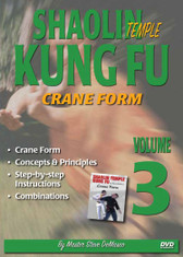"SHAOLIN KUNG FU VOL. 3 CRANE FORM By Master Steve DeMasco Black Belt Hall of Fame member Steve DeMasco shares his knowledge from years of training with the some of the most famous Chinese grandmasters in the world. In this Series, Steve DeMasco demonstrates these fundamental martial arts techniques from Shaolin Kung Fu. Since 1997, Steve DeMasco—a 10th-degree black belt in Shaolin Kempo— has traveled to China every year to train with the senior monks of the famous Shaolin Temple. Master Steve DeMasco's inside training with the monks at the fabled Shaolin Temple has afforded him the opportunity to share their unique curriculum with the world. ""These techniques were designed 1,500 years ago and have been practiced by the Shaolin monks. The Shaolin Kung Fu system is derived from animal techniques: the tiger, the crane, the leopard, the snake and the dragon. If you watch closely, you'll see the characteristics of some of these animals — especially the snake, the crane and the tiger."" Crane Form Concepts & Principles Step-by-step instructions  Combinations"