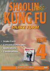 "SHAOLIN KUNG FU VOL.4 SNAKE FORM By Master Steve DeMasco Black Belt Hall of Fame member Steve DeMasco shares his knowledge from years of training with the some of the most famous Chinese grandmasters in the world. In this Series, Steve DeMasco demonstrates these fundamental martial arts techniques from Shaolin Kung Fu. Since 1997, Steve DeMasco—a 10th-degree black belt in Shaolin Kempo— has traveled to China every year to train with the senior monks of the famous Shaolin Temple. Master Steve DeMasco's inside training with the monks at the fabled Shaolin Temple has afforded him the opportunity to share their unique curriculum with the world. ""These techniques were designed 1,500 years ago and have been practiced by the Shaolin monks. The Shaolin Kung Fu system is derived from animal techniques: the tiger, the crane, the leopard, the snake and the dragon. If you watch closely, you'll see the characteristics of some of these animals — especially the snake, the crane and the tiger."" Snake Form Concepts & Principles Applications Combinations"