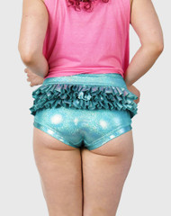 Ruffle  High Waist Hologram Aqua