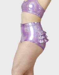 Ruffle High Waist Hologram Lilac