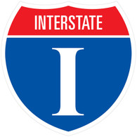 "Sticker Interstate Shield 10.925"" x 10.925"""