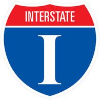 """Sticker Interstate Shield 10.925"""" x 10.925"""""""