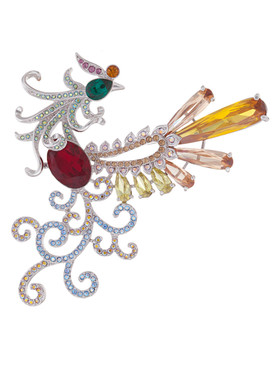 Multi-Color Crystal & CZ Phoenix Brooch  | Brooches