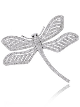 Elegant Crystal Dragonfly Brooch  | Brooches