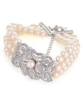 Jennifer's Rosette Crystal & Pearl Bracelet 4 | Bracelets