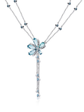 Kate's Double-Chain CZ Flower Necklace 4 | Necklaces