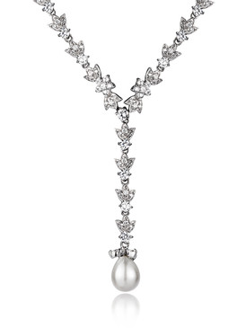 Debbie's CZ Floral Pearl Drop Necklace 4 | Necklaces