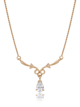 Cynthia's Floral CZ Teardrop Necklace  | Necklaces