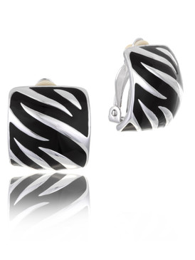 Zebra Enamel Style Clip-On Earrings  | Earrings